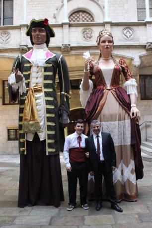 Jordi Grau amb els Gegants del Tricentenari-Sant Jordi
